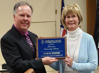 Larry Jones, Marcia Wiebers, NMTA Service Award