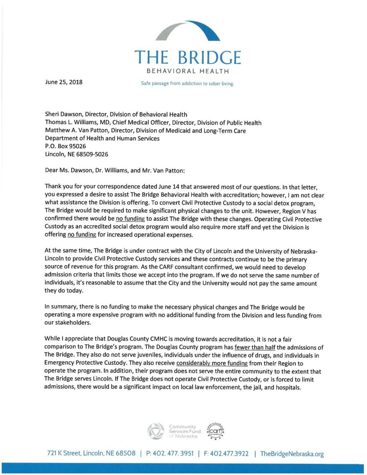 The Bridge Behavioral Health letter to DHHS, June 25, 2018