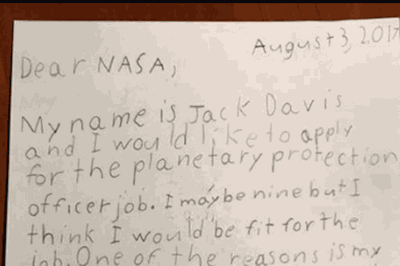 9 year old applied for a job at nasa and received an incredible response