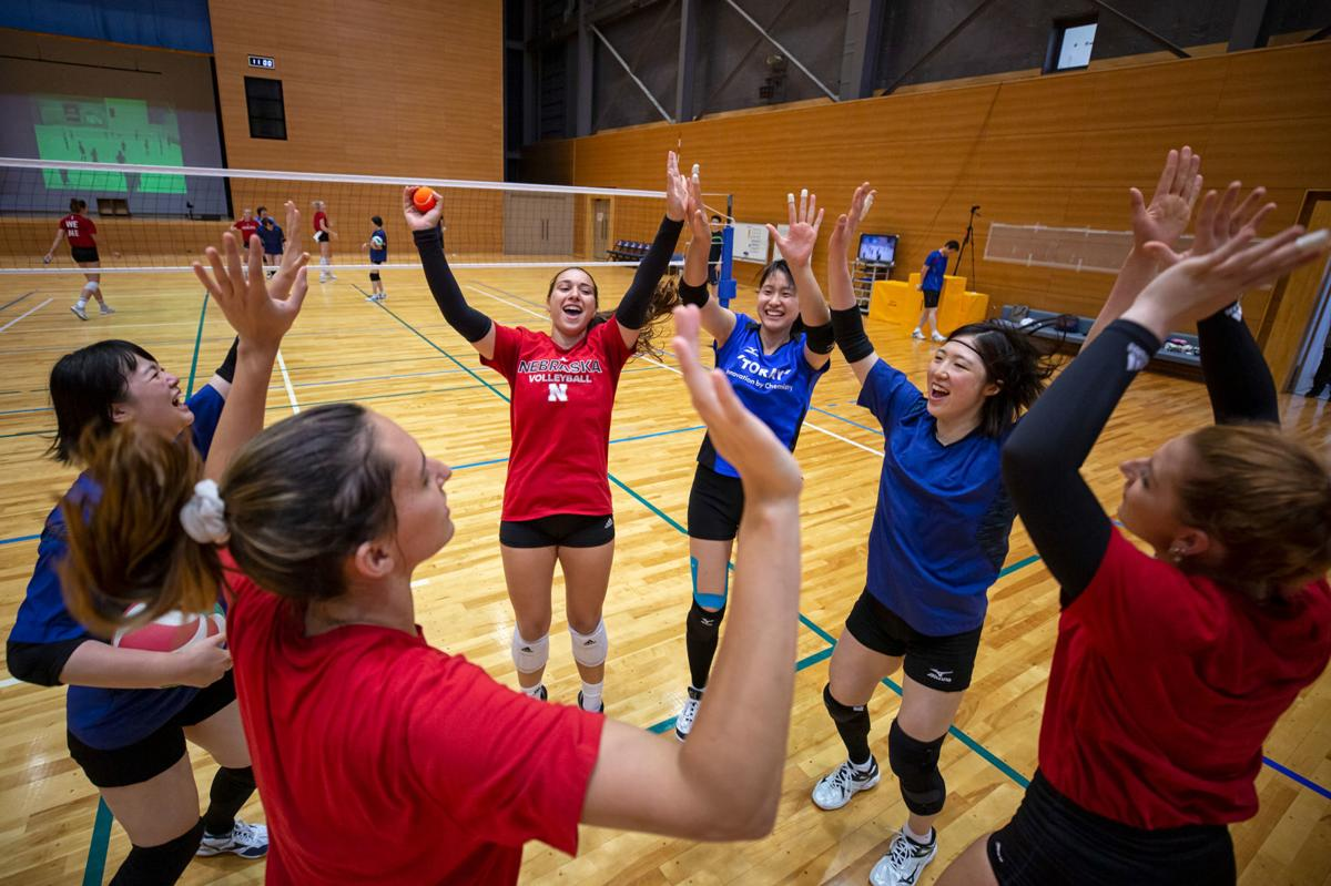 Nebraska volleyball team with Toray Arrows