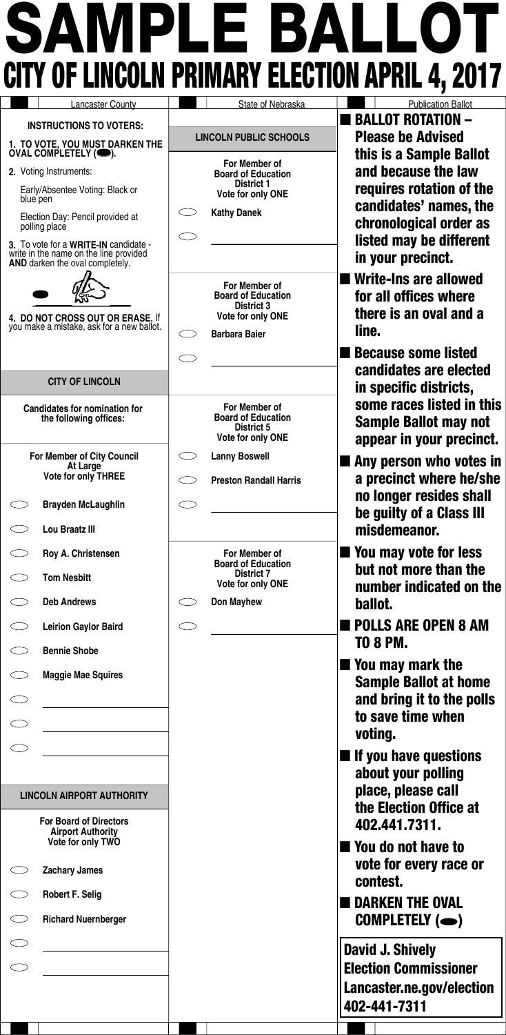 2017 Primary Election Sample Ballot Election Central