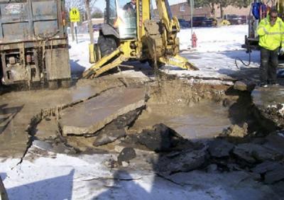 Repair of broken water main