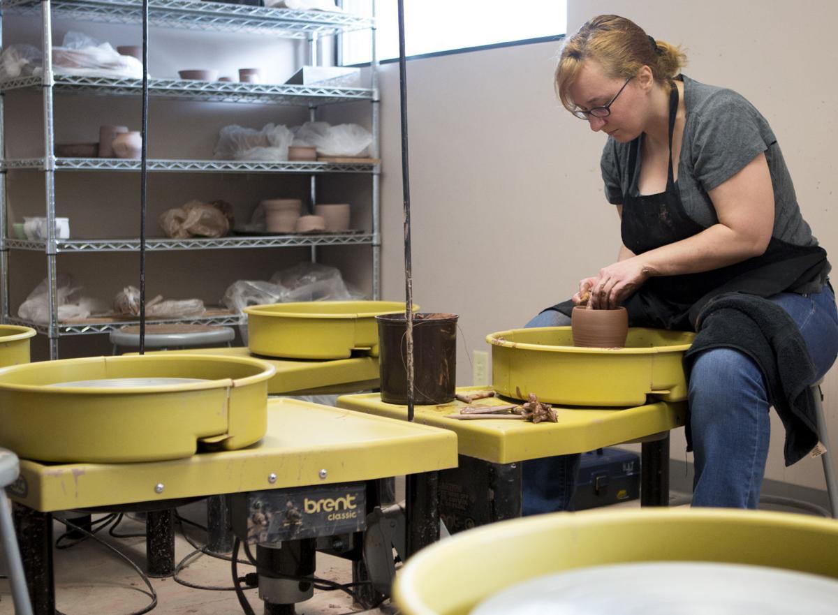 Katie Joseph practices with clay at Lux Ceramics Center