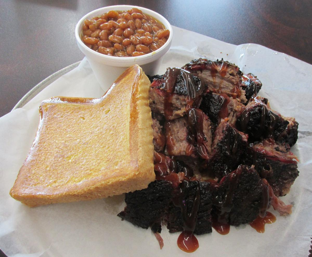 Phat Jacks' Burnt Ends with Texas toast and baked beans