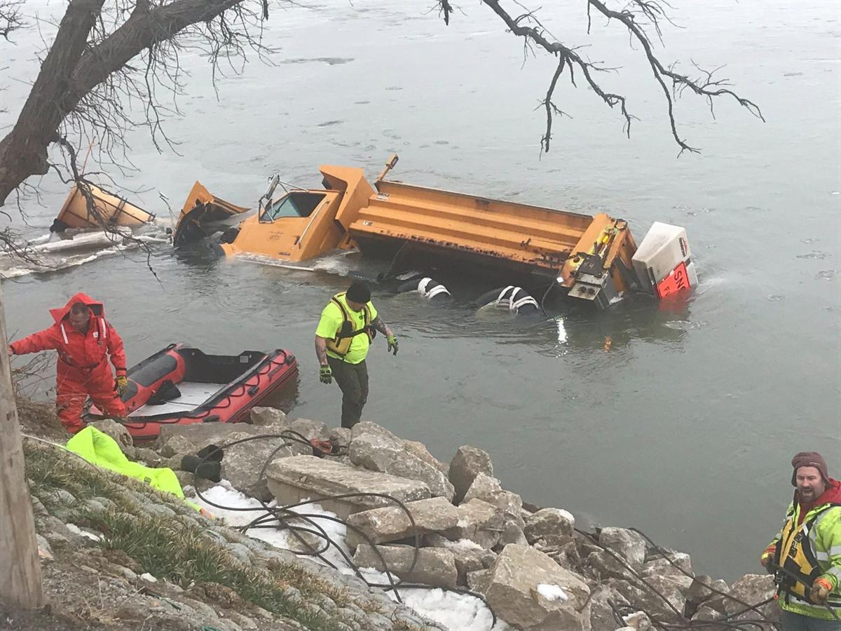 Truck in river