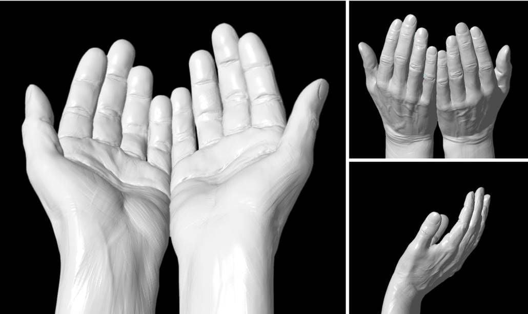 Serving hands sculpture