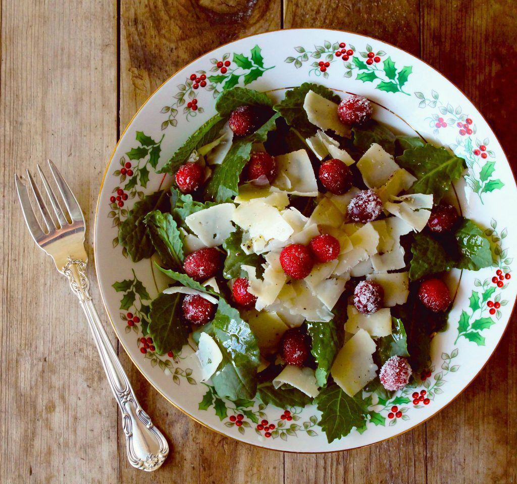 Holiday greens with cranberries