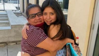Reunited mom and daughter