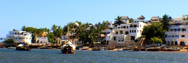 Popular Shela beach and harbor on the northern tip of Lamu Island