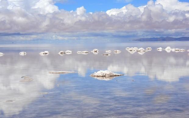 Salt Flats mirror effect after light rain