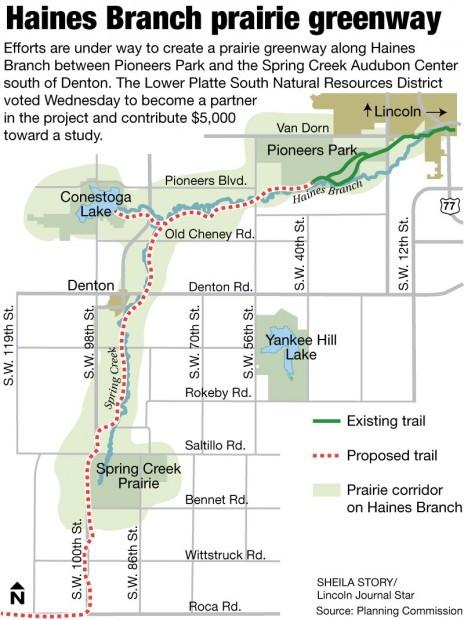 Map: Haines Branch prairie corridor