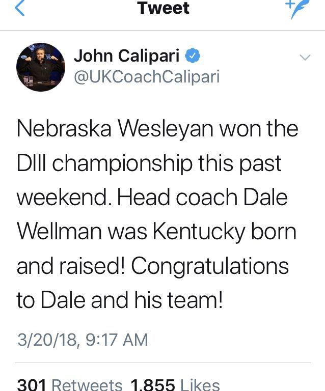 Calipari Tweet