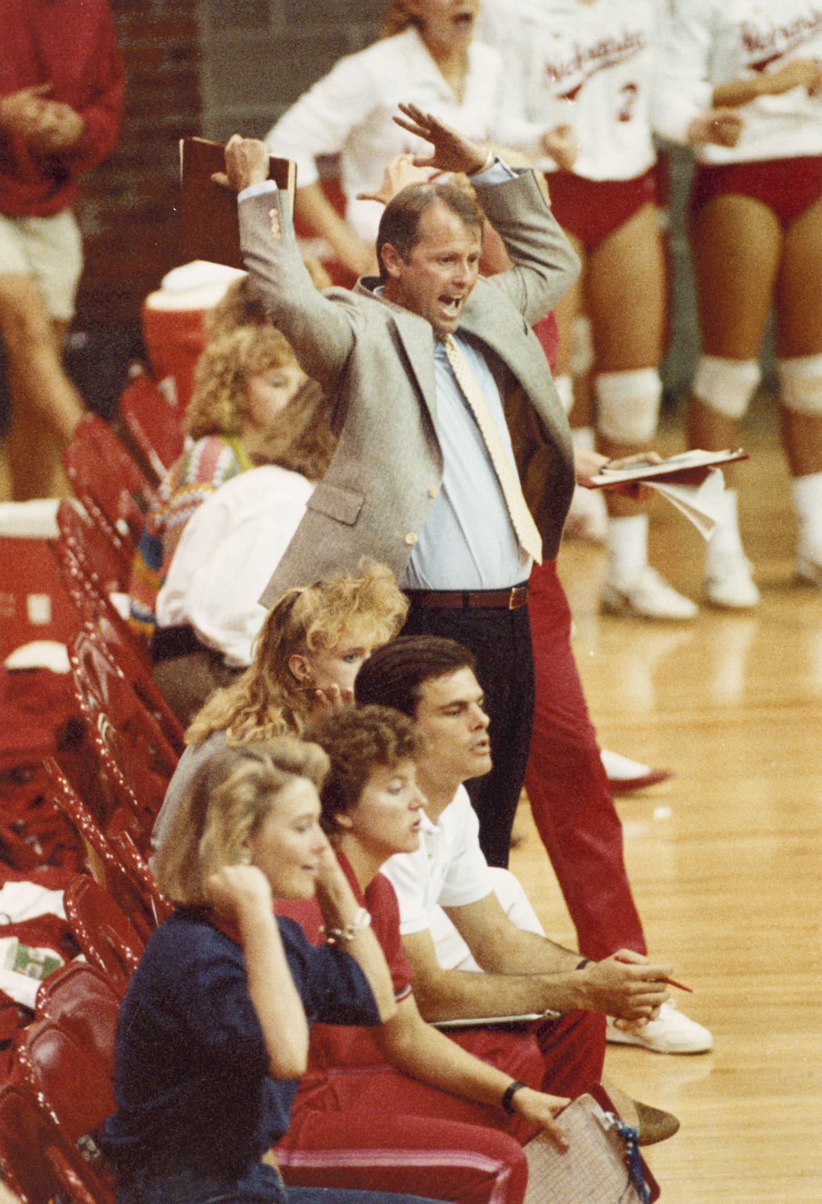 Coach Terry Pettit reacts during a 1989 volleyball match