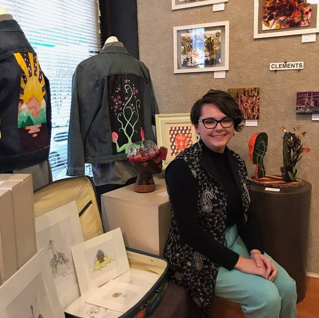 Dana Clements with mixed-media art