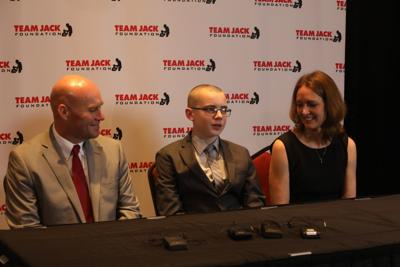 Jack Hoffman and parents at the fifth annual Team Jack Gala