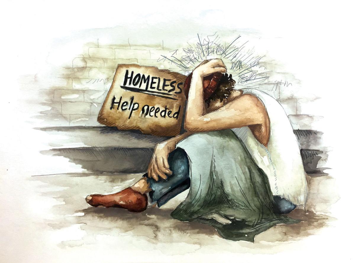 Homeless-mental health illustration