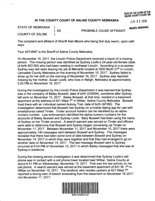 Arrest affidavit for Bailey Boswell