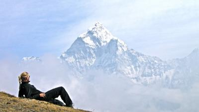 Regina Busse at Nepal Vantage Point