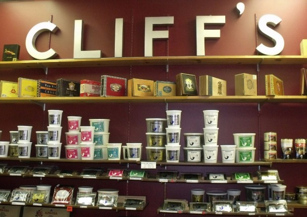 Cigar boxes and pipe tobacco inside Cliff's
