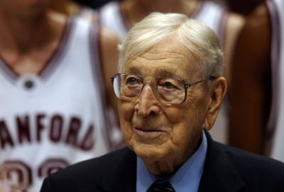 Legendary basketball coach John Wooden at the 10th Anniversary John R. Wooden Classic in Anaheim, California on October 14, 2014.