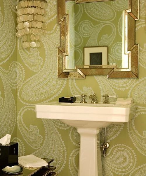 4. Try Some Wallpaper | | journalstar.com Houzz Powder Room Bathrooms Designs Html on wallpaper powder bathroom, beach powder bathroom, houzz dining room,