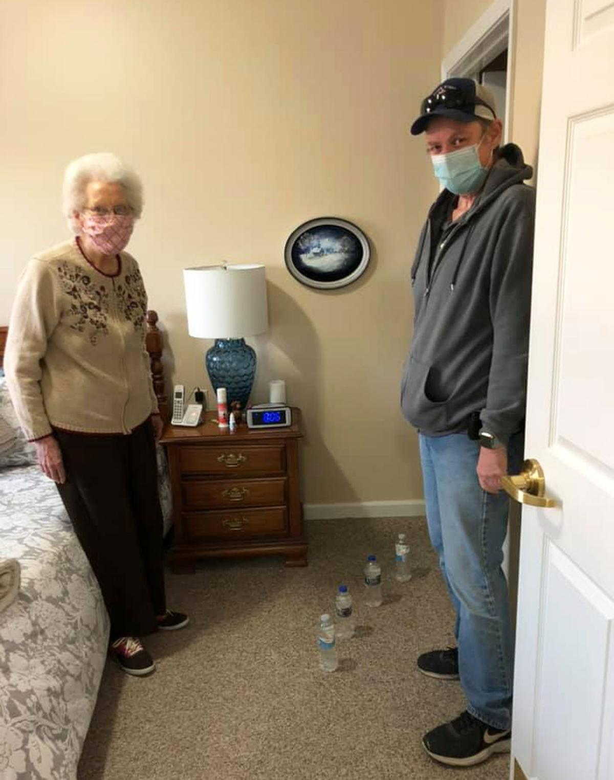 Alyce and Chuck and the water bottles