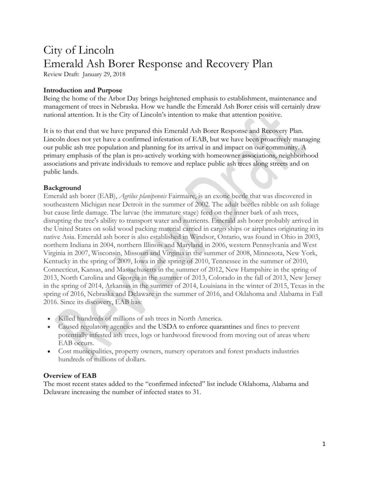 Draft: City of Lincoln Emerald Ash Borer Response and Recovery Plan