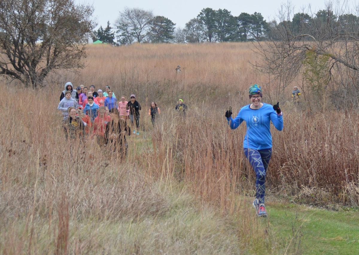5K participants wind their way through the tallgrass prairie