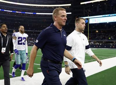 ARLINGTON, TEXAS - NOVEMBER 28:  Head coach Jason Garrett of the Dallas Cowboys walks off the field after a 26-15 loss against the Buffalo Bills at AT&T Stadium on November 28, 2019 in Arlington, Texas.