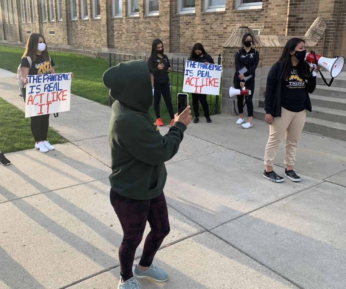 St. Cat's students protest before start of school