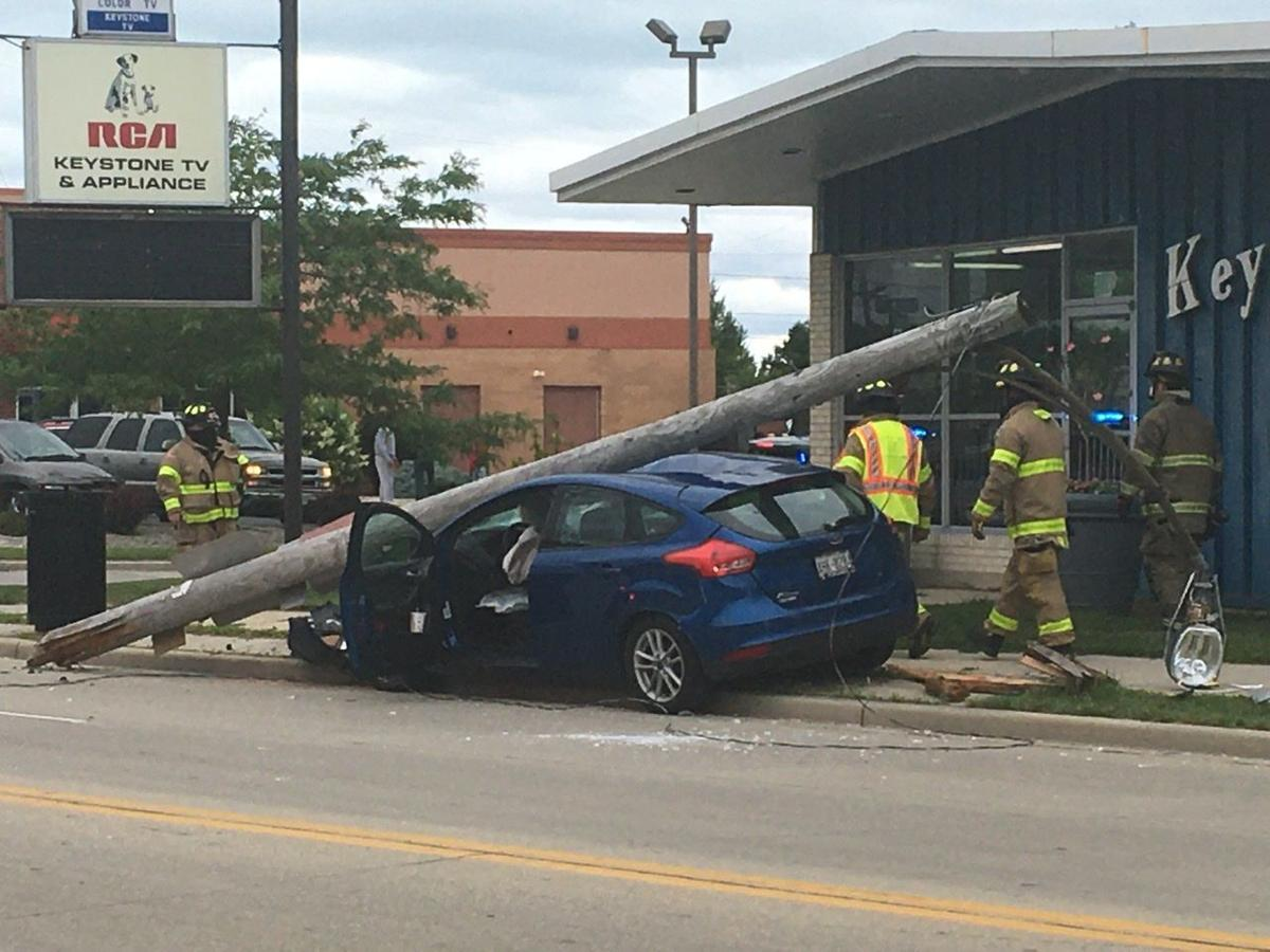Car vs. utility pole on Douglas Avenue currently between Melvin and Kingston