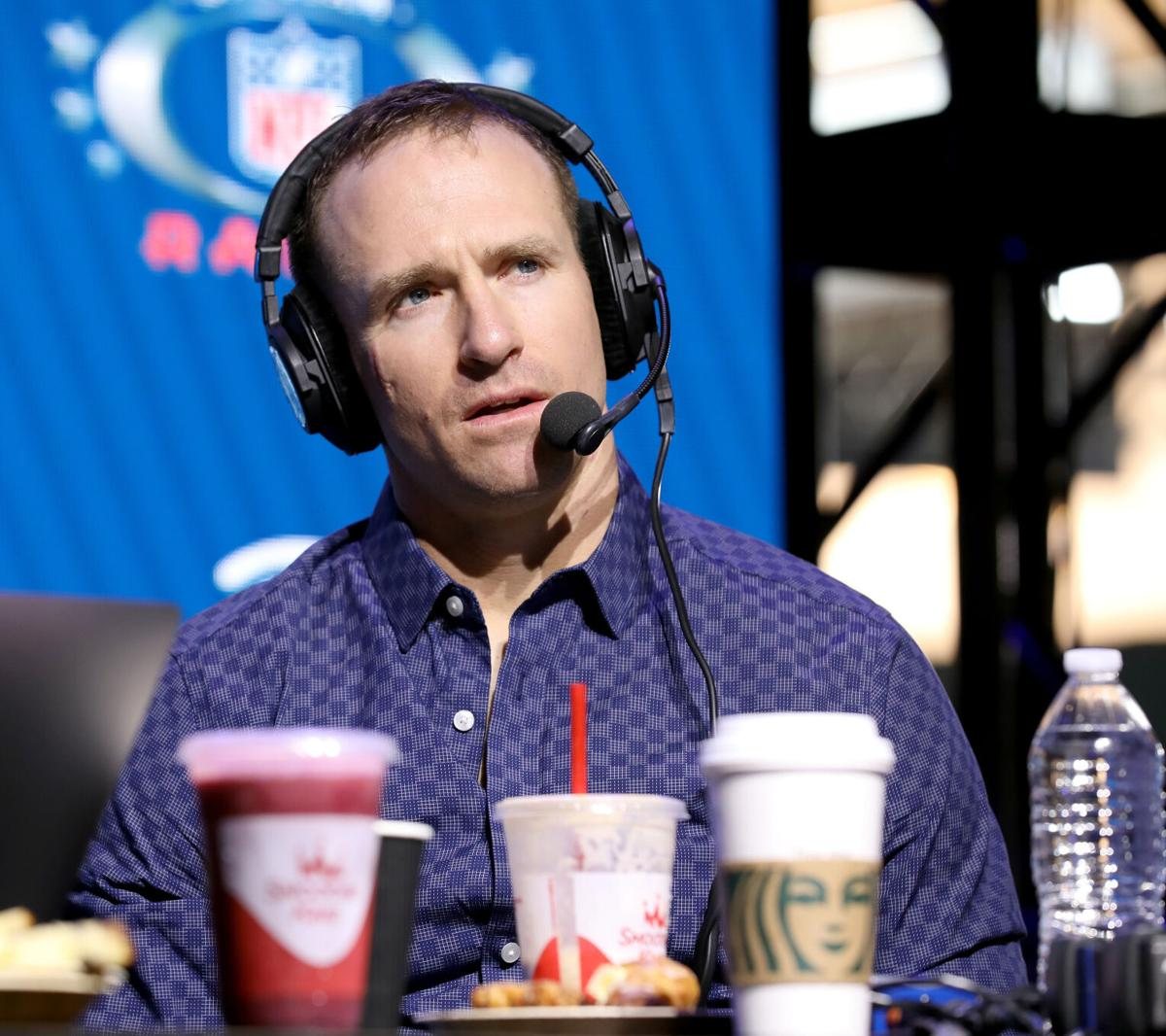 New Orleans Saints quarterback Drew Brees speaks onstage during day three of SiriusXM at Super Bowl LIV on Jan. 31, 2020 in Miami, Fla.