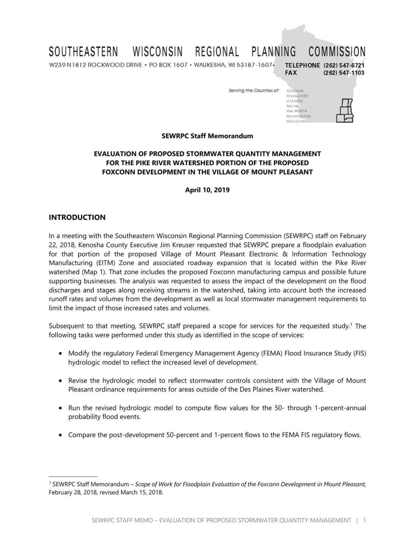 SEWRPC Memo, Foxconn flooding evaluation, April 2019