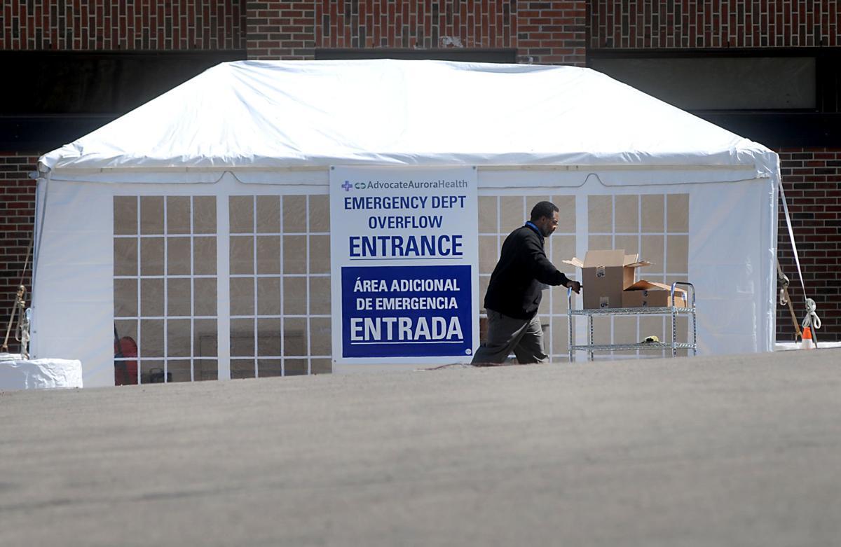 Burlington coronavirus tent stock Aurora Memorial Hospital Advocate