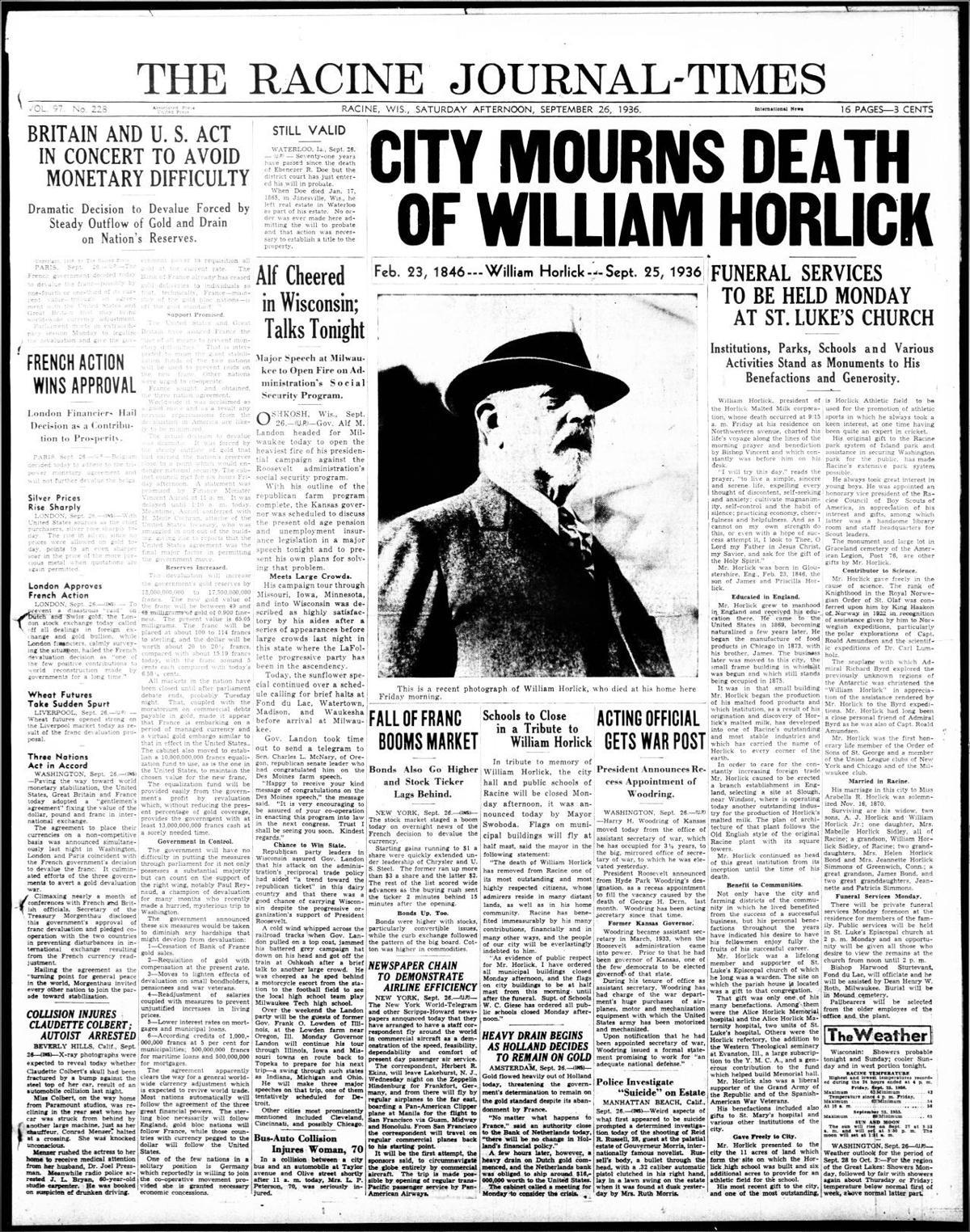 Racine Journal Times - Death of William Horlick