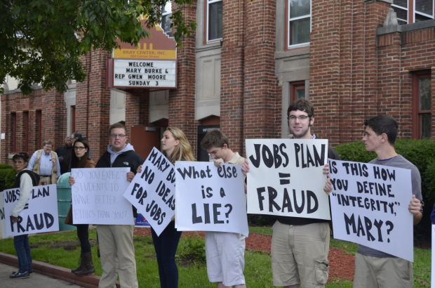 Republicans protest outside Bray Center