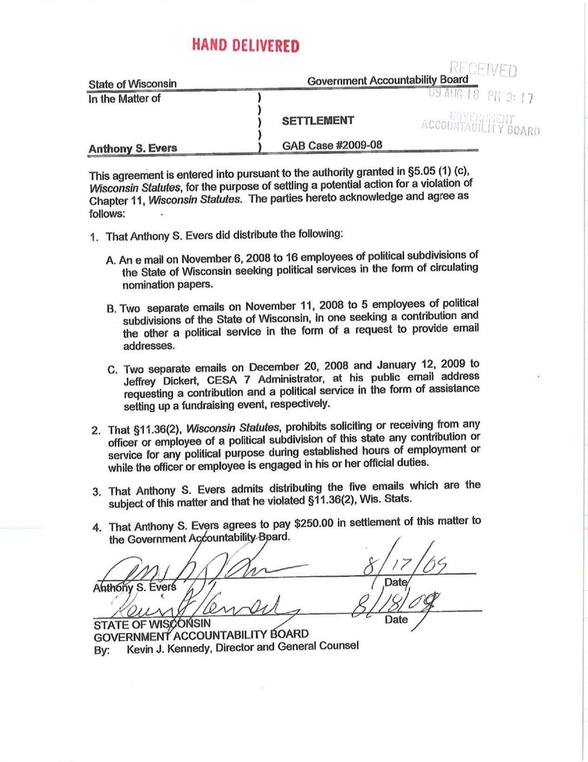 Tony Evers Campaign Violation Agreement State And Regional