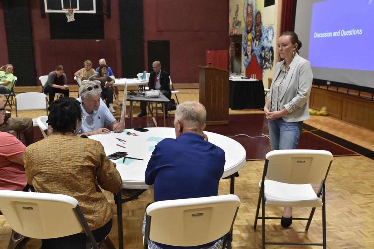 State Rep. Greta Neubauer talks with constituents