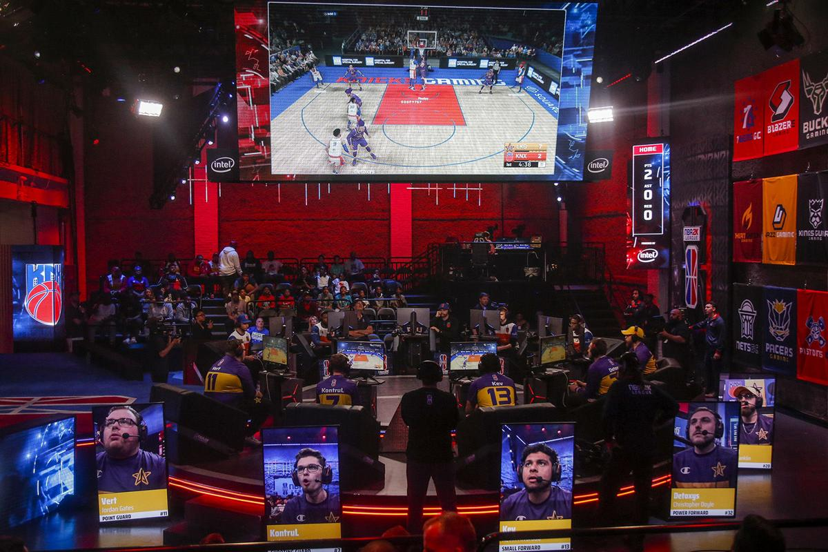 Members of the Lakers Gaming team play against Kicks Gaming in the NBA 2K League Studio on Wednesday, June 5, 2019. Lakers Gaming lost their first game to Knicks Gaming 57-66, but won their second game against the Hawks Talon GC 54-48.