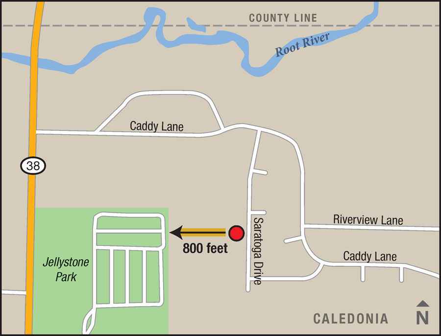 Map of where sex offenders may be placed on Saratoga Drive in Caledonia, near Jellystone Park