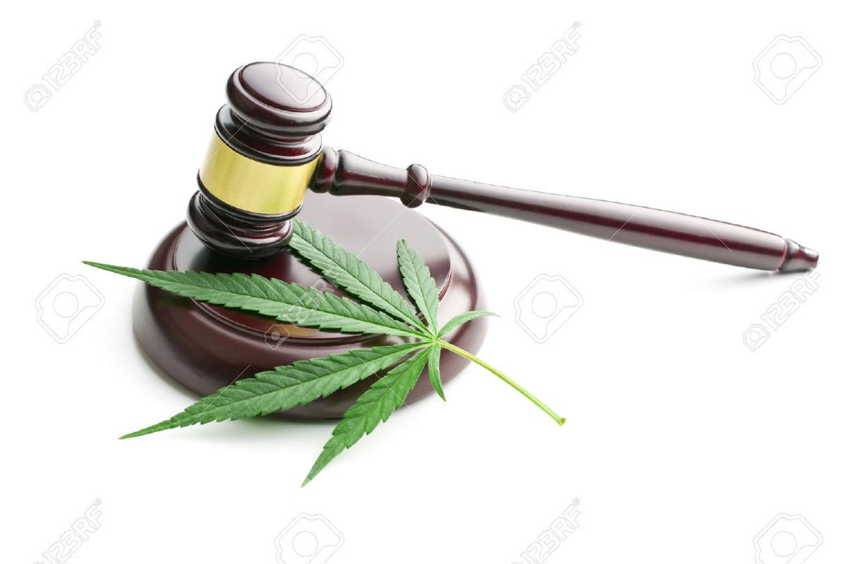 Marijuana with judge's gavel