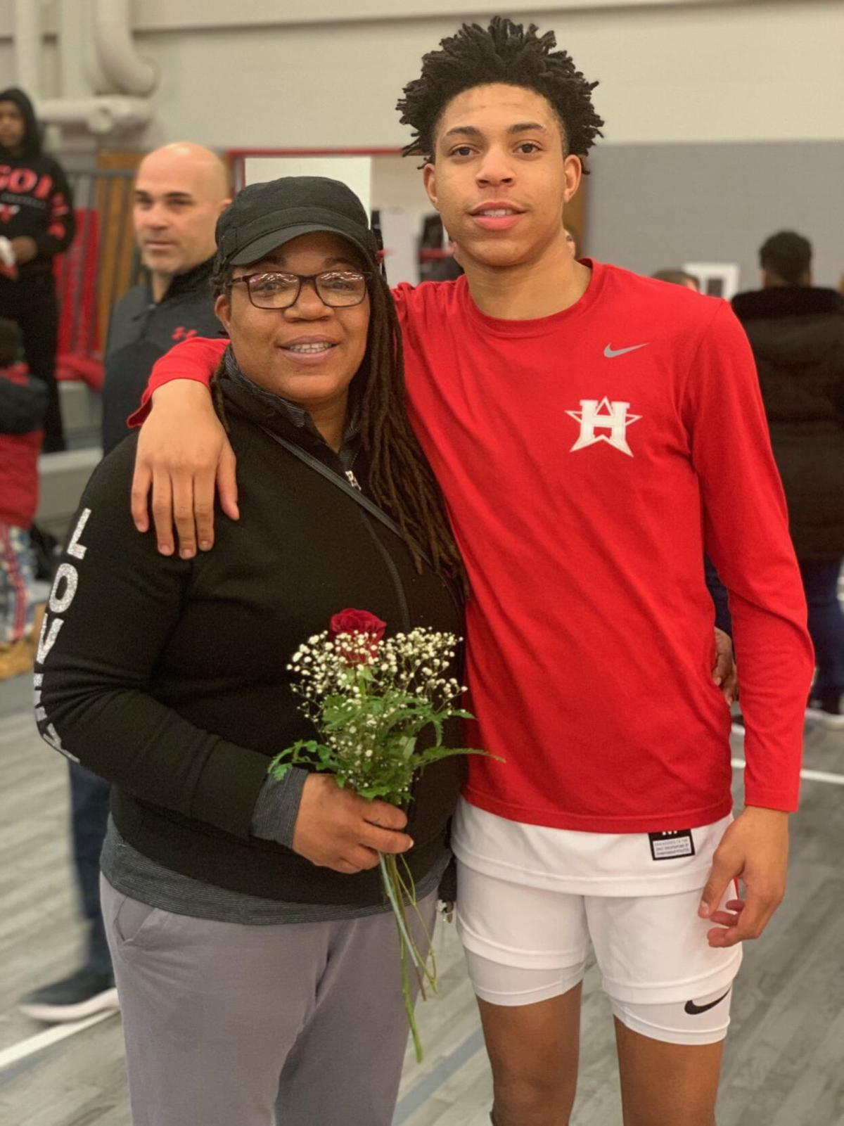 Dontrell Bush with his mom
