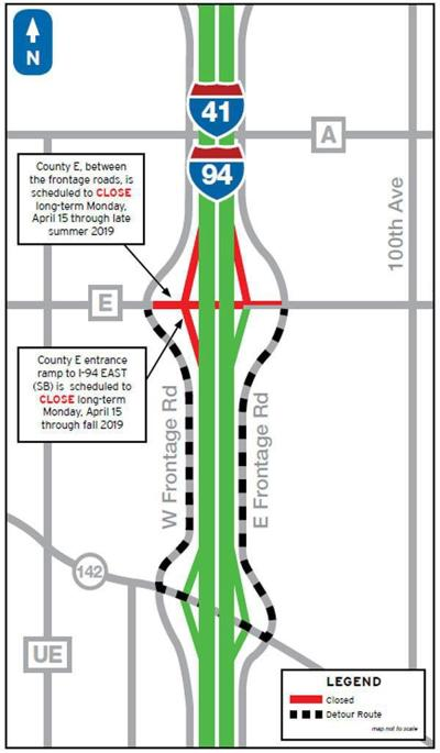 Highway E ramp closed as part of I-94 reconstruction