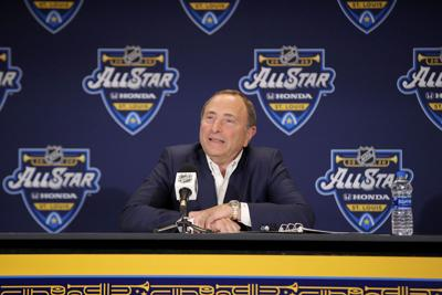 NHL Commissioner Gary Bettman speaks to the media prior to the All-Star Skills Competition at Enterprise Center in St Louis on Jan. 24, 2020. Bettman said the league is considering several places as sites to finish the season.