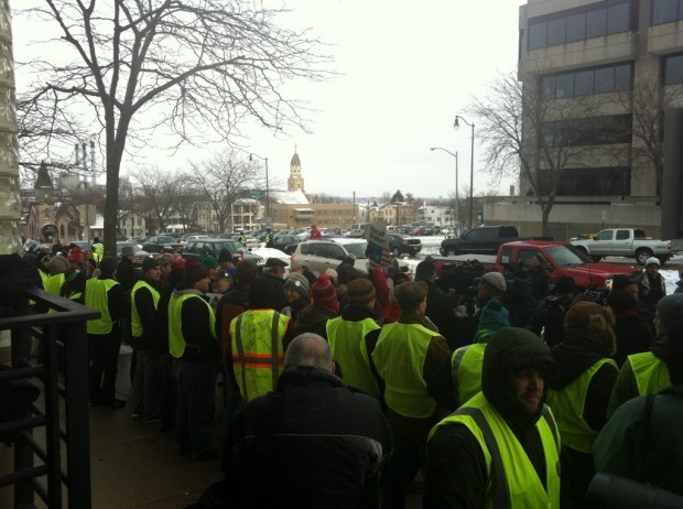 Recall workers lined up outside Government Accountability Board offices