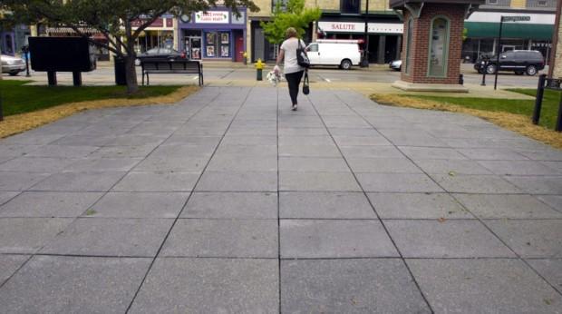 Recycled tire sidewalk