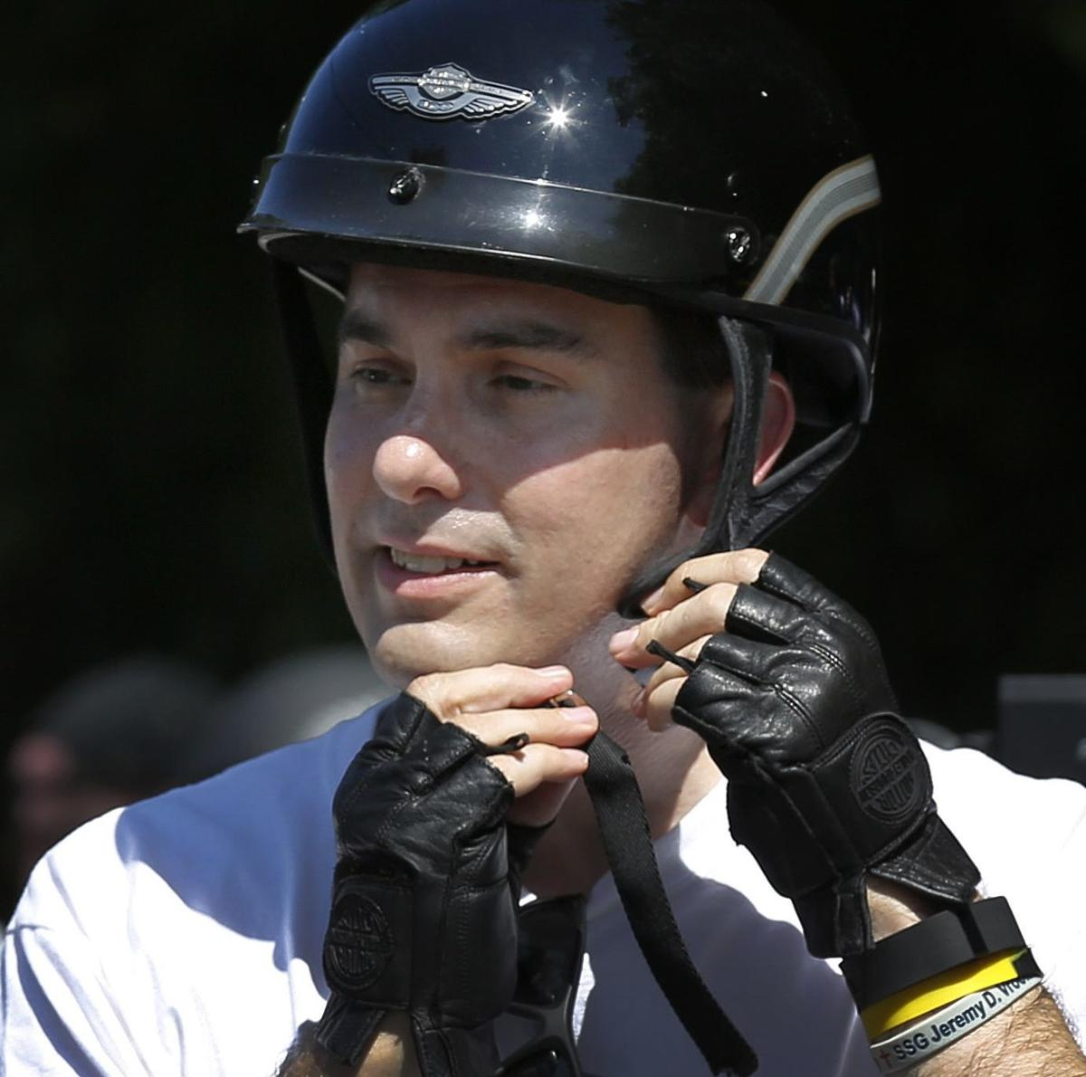 Walker in helmet