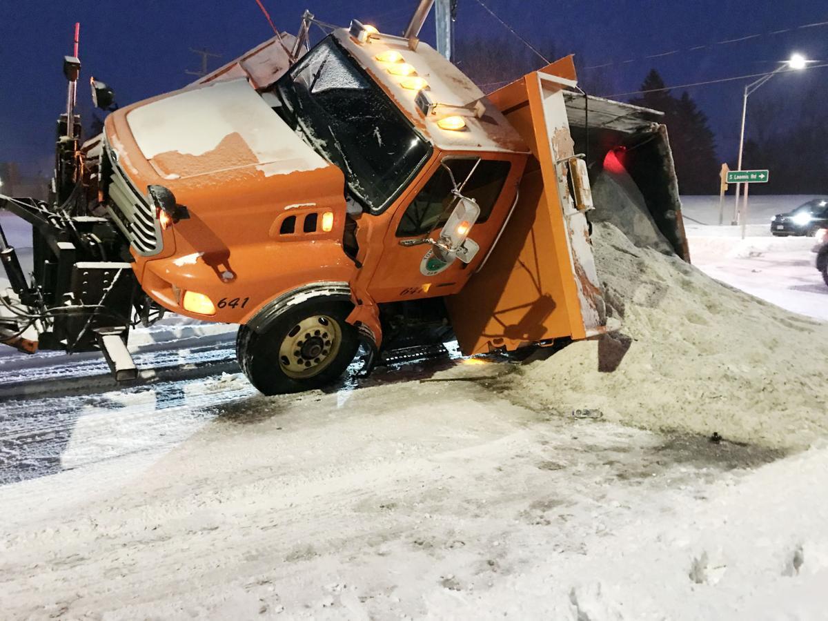 Town of Norway snowplow rollover in snowstorm