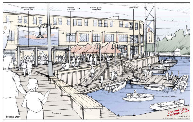 Machinery Row Riverfront Perspective Sketch