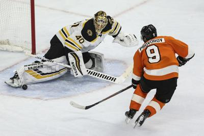 The Philadelphia Flyers' Ivan Provorov can't get the puck past Boston Bruins goalie Tuukka Rask during the third period at the Wells Fargo Center on March 10. It was the last game the Flyers played before the season was suspended March 12 because of the cornoavirus.